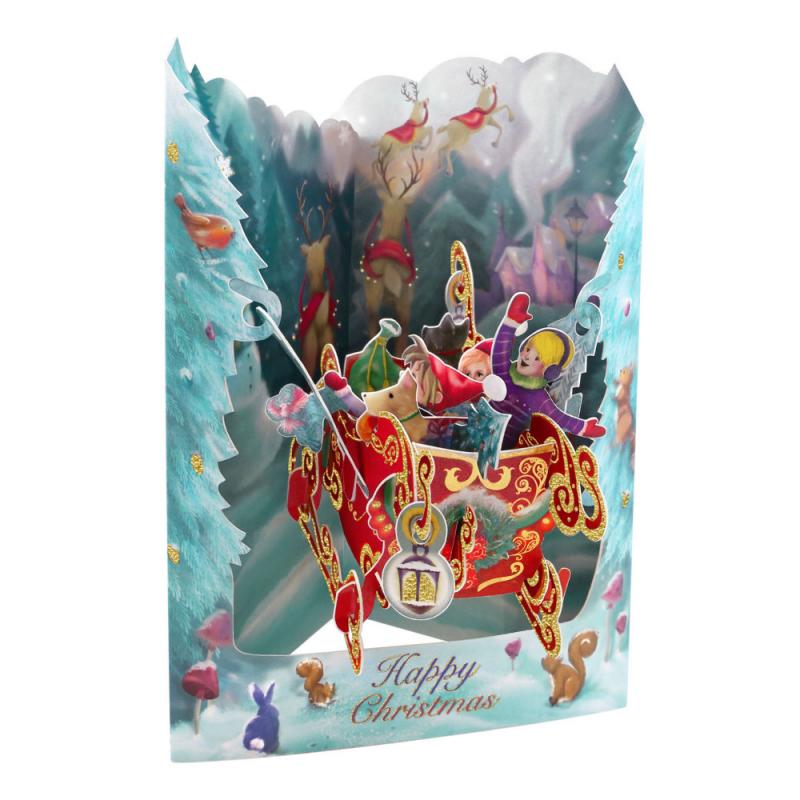 Felicitare 3D Swing Cards de iarna – Cu sania lui Mos Craciun. O felicitare tridimensionala cu camp pt mesaj.