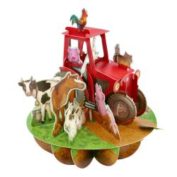 Felicitare 3D Pirouettes Santoro-Tractor si ferma animalelor