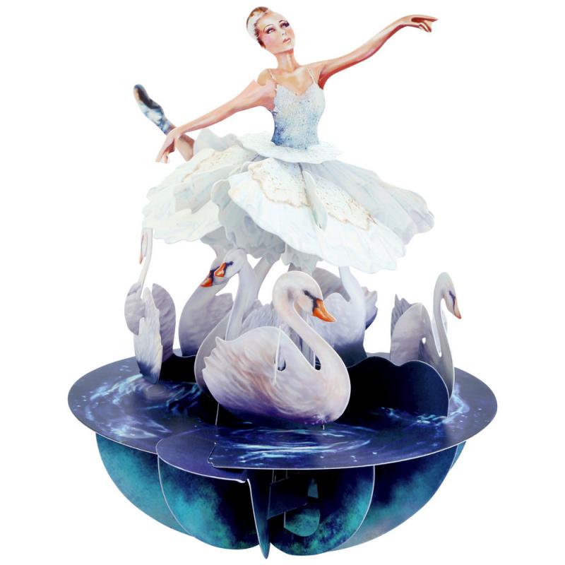 Felicitare 3D Pirouettes Santoro-Balet Lacul Lebedelor este ideala pentru copii si adulti pasionati de balet.