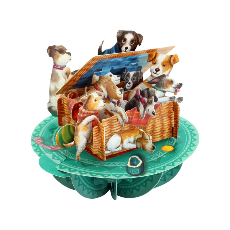 Felicitare 3D Pirouettes Santoro-Catei in cosulet - o felicitare 3D draguta pentru copii