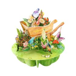 Felicitare 3D Pirouettes Santoro-Roaba cu flori. O felicitare tridimensionala pentru copii si adulti.