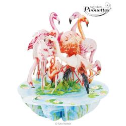 Felicitare 3D Pirouettes Santoro-Flamingo. O felicitare 3D pentru copii si adulti.
