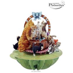 Felicitare 3D Pirouettes Santoro-Pisicute in cosulet. O felicitare tridimensionala perfecta pentru copii si adulti.