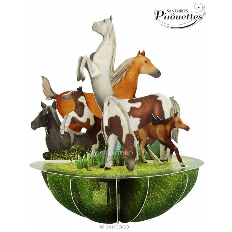 Felicitare 3D Pirouettes Santoro-Cai si ponei. O felicitare 3D perfecta pentru cei dragi.