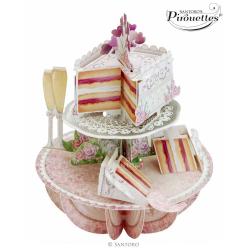 Felicitare 3D Pirouettes Santoro-Tort de nunta. O felicitare tridimensionala draguta pentru copii si adulti.
