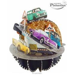 Felicitare 3D Pirouettes Santoro-Masini retro. O felicitare indragita de copii pasionati de masini.