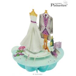 Felicitare 3D Pirouettes Santoro-Nunta, mire si mireasa