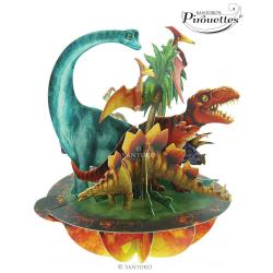 Felicitare 3D Pirouettes Santoro-Dinozauri din Jurassic. O felicitare adusa din era preistorica pentru copii