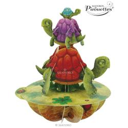 Felicitare 3D Pirouettes Santoro - Broaste testoase. O felicitare 3D perfecta pentru copii si adulti.