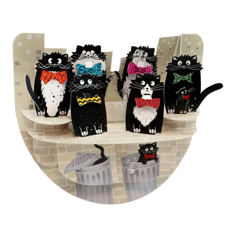 Felicitare 3D PopnRock Pisici cu papioane - o felicitare speciala, amuzanta, cu elemente mobile pentru iubitorii de animale