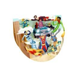 Felicitare 3D PopnRock Supereroi - felicitare 3D, cu elemente mobile si spatiu pentru scris mesaj.