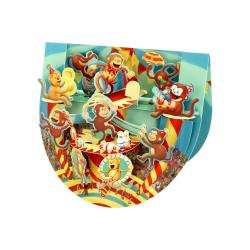Felicitare 3D PopnRock Maimute de la circ - o felicitare 3D, cu elemente mobile si spatiu pentru mesaj.