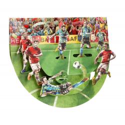 Felicitare 3D PopnRock Meci de fotbal-o felicitare 3D, cu elemente mobile, ce pune in scena un meci de fotbal dedicata fanilor