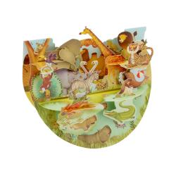 Felicitare 3D PopnRock Animale de la Zoo  o felicitare 3D cu elemente mobile, care ilustreaza o gradina zoologica.