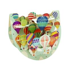 Felicitare 3D PopnRock Baloane cu aer cald - o felicitare 3D, cu elemente mobile pentru pasionatii de baloane cu aer cald.