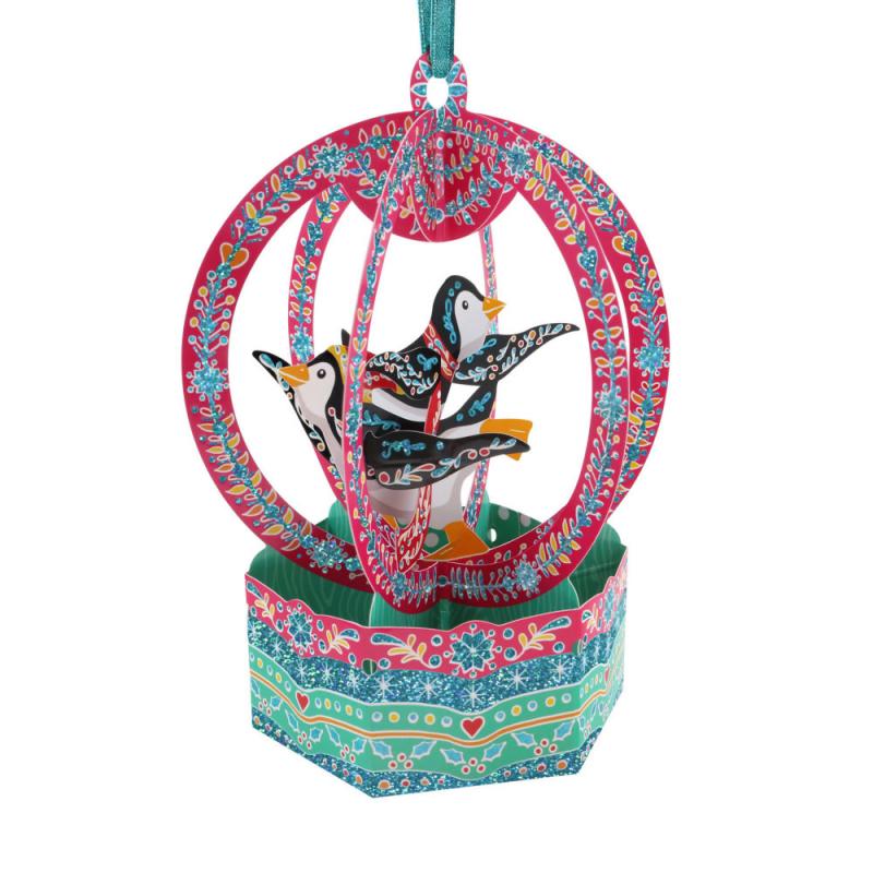 Ornament de brad de Craciun Santoro stil glob- Pinguni este un ornament de Craciun cu un card pentru mesaj.