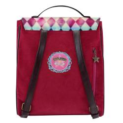 Rucsac fashion Gorjuss Circus Moon Buttons- spatele rosu al rucsacului special cu logo-ul Santoro London