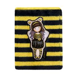 Agenda A4 Gorjuss Furry Bee Loved - coperta pufoasa in dungi galbene si negre cu albinuta gorjuss