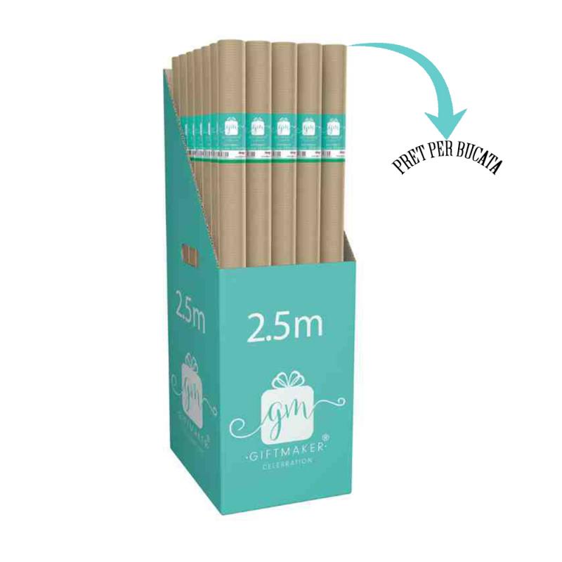 Hartie de impachetat kraft, maro lungime de 2.5 m ideala pentru orice cadou