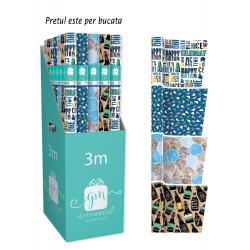 Hartie de impachetat model mixt 3 m - cutia cele 4 role si modelele disponibile