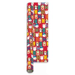 hartie de impachetat cadouri pentru Craciun - 5 m cu fond rosu si decor cu Ho si O este cu Mos Craciun si ajutoarele sale