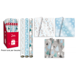 Hartie de impachetat efect folie model iarna 2 m, toate cele 3 modele disponibile