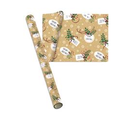 hartie de ambalat cadouri 8 m cu decor cu crengute de brad si mesaj de Craciun