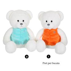 Ursulet alb - jucarie din plus cu vesta 35 cm, 2 modele disponibile de ursulet alb cu vesta bleu sau portocalie