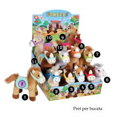 Ponei colorat - jucarie din plus cu sunet 22 cm - 12 modele de ponei cu ham si sa, jucarie cu sunet