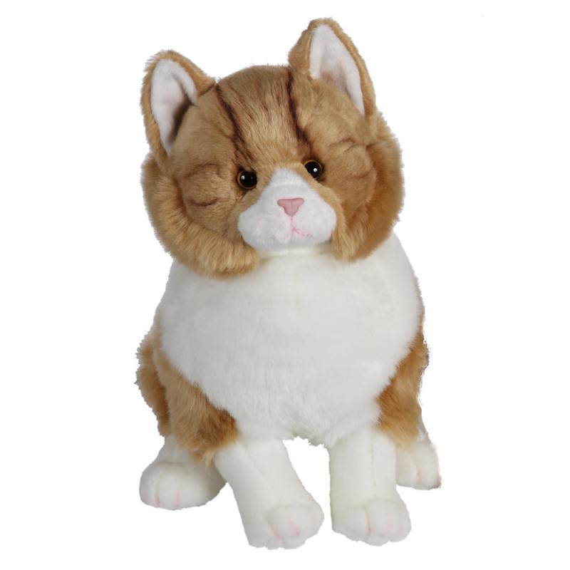 Pisica mare - jucarie din plus 30 cm, pisicuta pufoasa alb cu galben