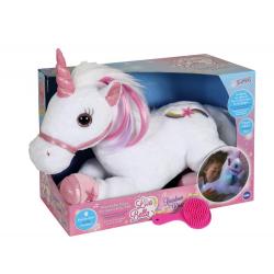 Unicorn alb - jucarie din plus cu sunet si lumini 35 cm, cu corn si copite roz, plus coama alb cu roz