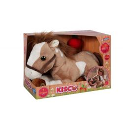 Cal - jucarie din plus cu sunet si lumini 35 cm, un cal maro cu pete albe