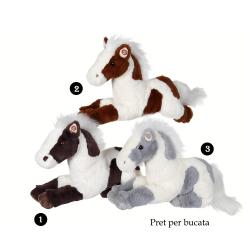 Cal cu pete - jucatie din plus cu sunet 35 cm, 3 modele, cal alb, negru sau maro cu pete