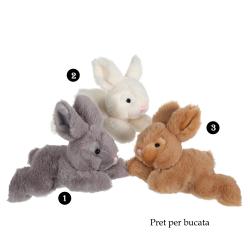 Iepuras culcat - jucarie din plus 20 cm, poti alege una din culorile disponibile: gri, maro sau alb