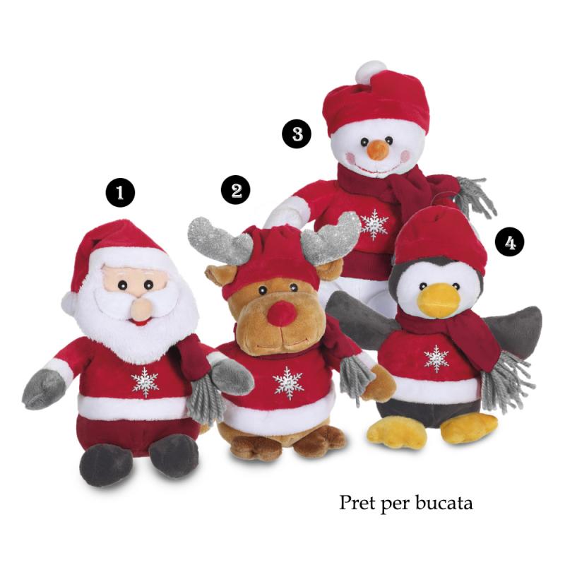 Jucarie de plus pentru Craciun cu sunet 24 cm: Mos Craciun, om de zapada, pinguin sau ren cu caciulita