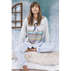 Pijama dama Gorjuss The Princess And The Pea, 2 piese bluza imprimata si pantaloni in dungi bleu