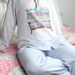 detaliu pijama copii Gorjuss din bumbac cu imprimeu The Princess And The Pea