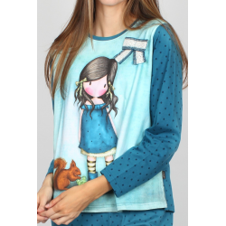 Pijama dama Gorjuss You Brought Me Love detaliu bluza pijama
