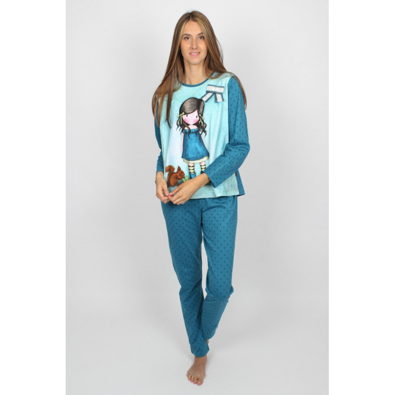 Pijama dama Gorjuss You Brought Me Love, pijama delicata albastru inchis cu albastru deschis