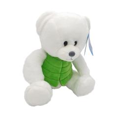 Ursulet alb - jucarie din plus cu vesta colorata 16 cm 4 modele, model cu vesta verde