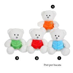 Ursulet alb - jucarie din plus cu vesta 24 cm, 5 modele de urs polar cu vesta bleu, rosie, verde sau portocalie