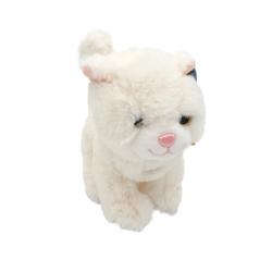 Catel sau pisica - jucarie din plus cu sunet 18 cm, model pisica alba