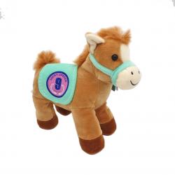 Ponei colorat - jucarie din plus cu sunet 22 cm cu sa colorata, model sa vernil, ponei moro deschis