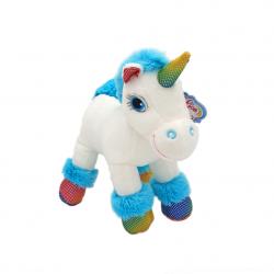 Unicorn alb si roz - jucarie din plus cu sunet 22 cm, model unicorn alb coama albastra