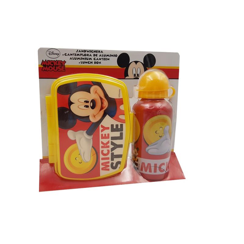 Recipient pentru apa 500 ml+cutie pranz Mickey style