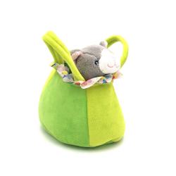 Jucarie din plus geanta verde cu pisicuta