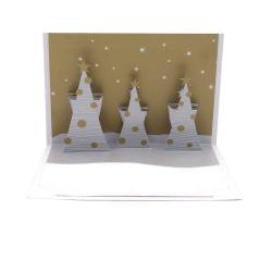 Felicitare 3D ORIGAMI - Three trees(gold/silver)