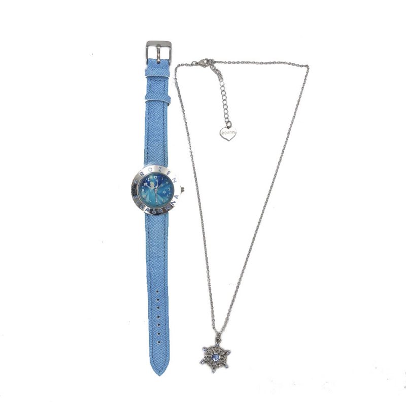 Prezentare produse - Set ceas de mana analogic bleu si colier Frozen Disney