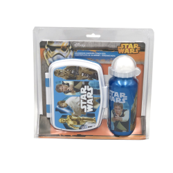 Set recipient apa Al 500ml si cutie pranz Star Wars bleu