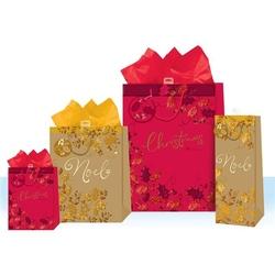Punga pentru cadou cu tematica de iarna / Craciun - embosate cu folie si sclipici M